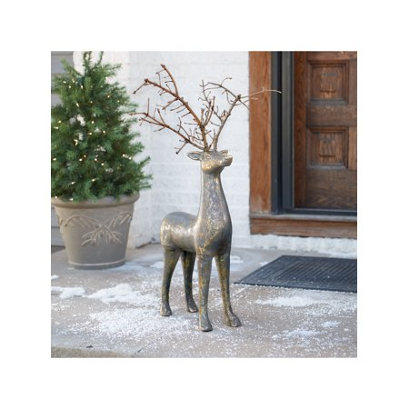 Art & Artifact Rustic Deer Sculpture - Indoor Outdoor Holiday Decor Brass Finished Aluminum