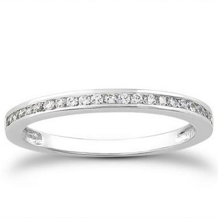 14K White Gold Slender Channel Set Diamond Wedding Ring Band Set 1/2 Around Size - 8