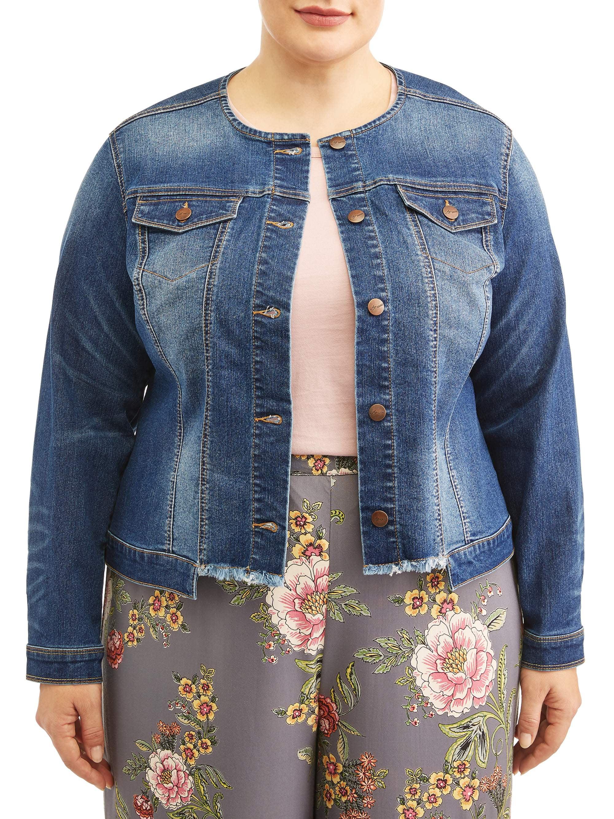 Women's Plus Size Collarless Frayed Denim Jacket
