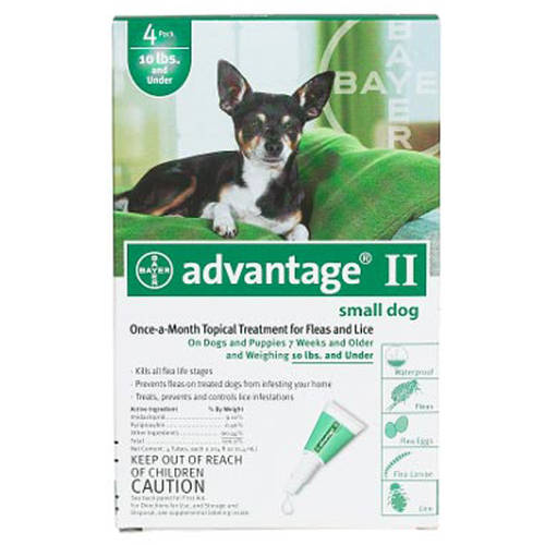 Advantage II Flea And Lice Topical Treatment For Dogs 10 lbs and Under, 4ct