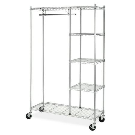 Whitmor Supreme 4-Shelf Rolling Garment Rack Chrome, 300 lb. capacity with wheels