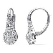 Miabella 1/4 CT TW Diamond Halo Leverback Earrings in Sterling Silver
