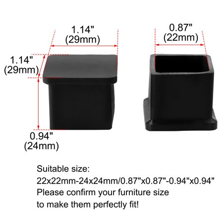 "Desk Table Leg Caps End Tip Home Furniture Protector 12pcs 0.87""x0.87"" (22x22mm) - image 3 de 7"