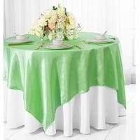 "Wedding Linens Inc. (2 pcs) 54"" x 54"" Satin Square Table Overlay Topper - Mint Green"