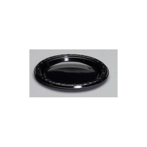 Genpak Silhouette Plastic Dinnerware, Plate, 7in, Black, 100/pack GNPBLK07