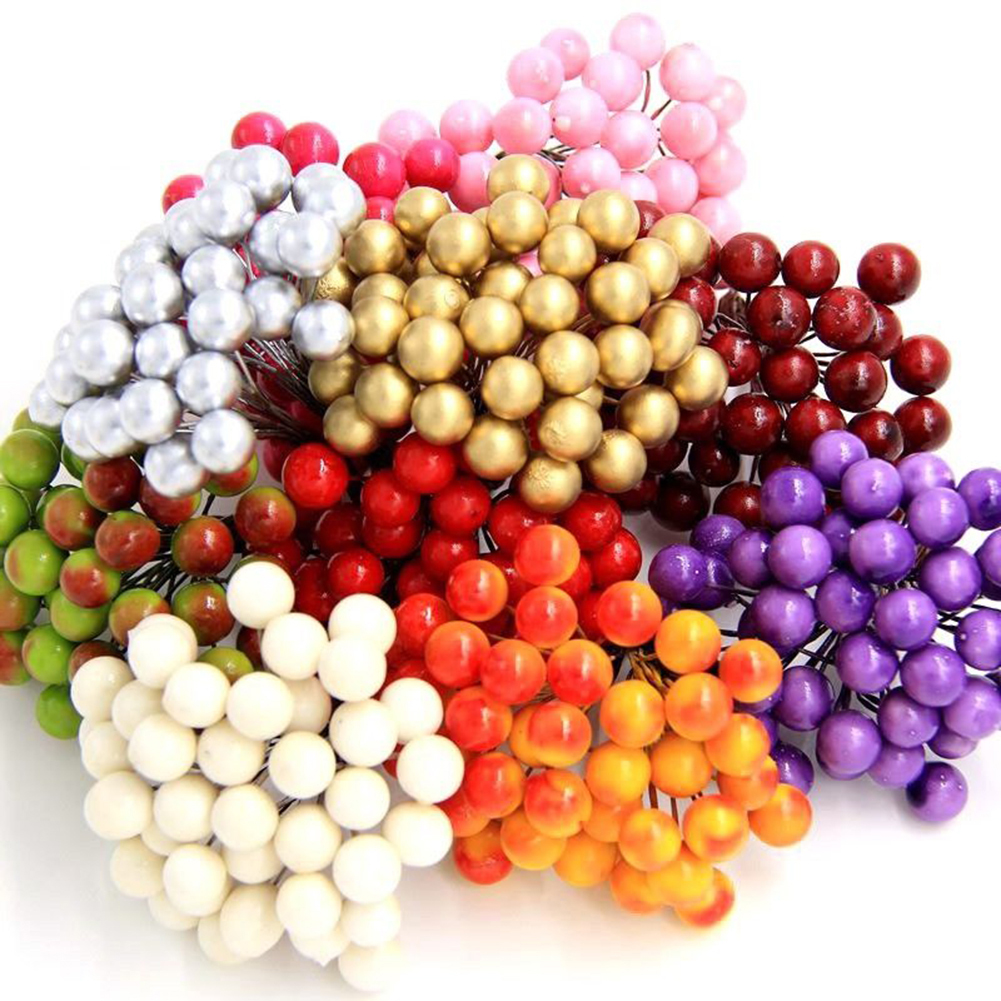 Micelec 40Pcs on 1 Bunch Emulated Artificial Berries Lifelike Fake Fruit Food Home Decor