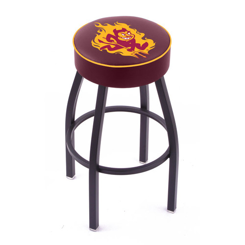 """L014 - 25"""" Black Wrinkle Louisiana State Swivel Bar Stool with Ladder Style Back by Holland Bar Stool Co."""