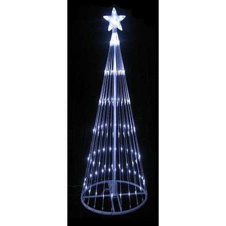 LB International Decorative LED Light Show Cone Artificial Christmas Tree  with 440 Single Colored Lights White - LB International Decorative LED Light Show Cone Artificial Christmas