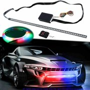 Xotic Tech RGB Knight Rider LED Scanner Light Strip, 21'' 48-SMD Multicolored LED Flash Strobe Light Bar Kit for Car Interior Exterior Hood Grille Trunk