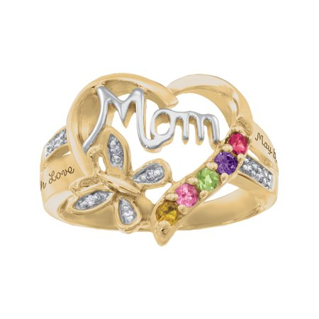 Personalized Family JewelryBlankBirthstone Blessing Mother's Ring available in Sterling Silver, Gold and White (Personalized Mothers Ring)