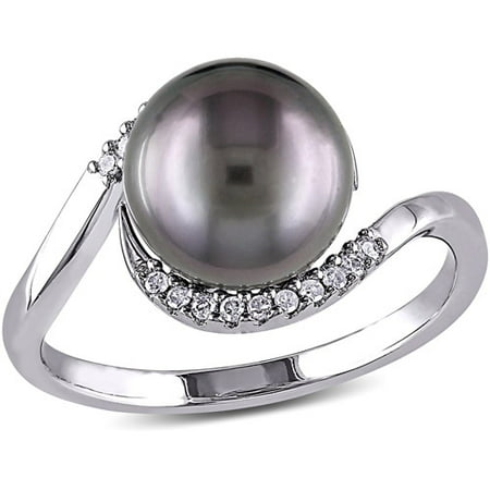 9-9.5mm Black Round Tahitian Pearl and Diamond-Accent Sterling Silver Bypass Ring