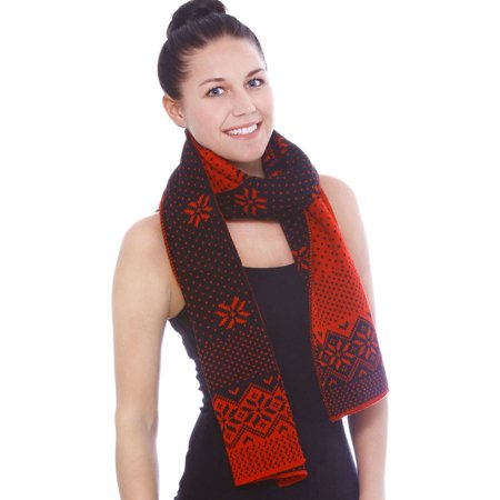Reversible Cashmere Knit Scarf (Women's Reindeer Reversible Multi-Colored Knit Long Scarf Shawl, Red, Dark Blue )