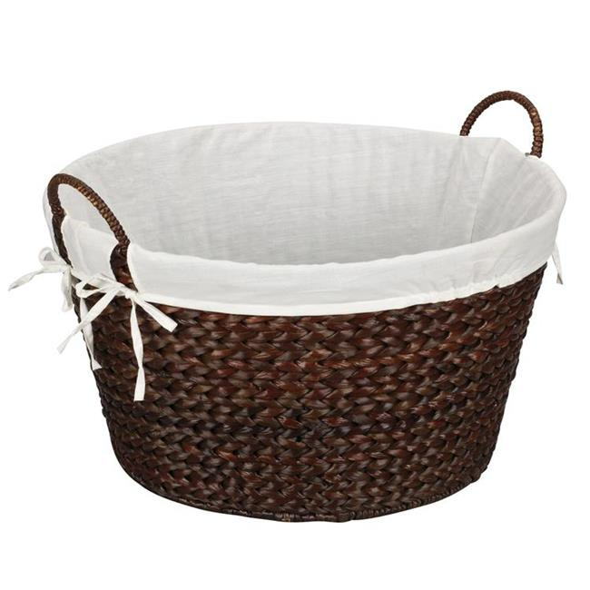 Household Essentials ML-6667B Round Banana Leaf Laundry Basket-Stained