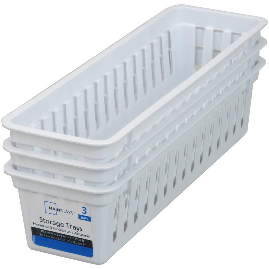 Mainstays Narrow Mini Storage Bin Trays, White, 3pk