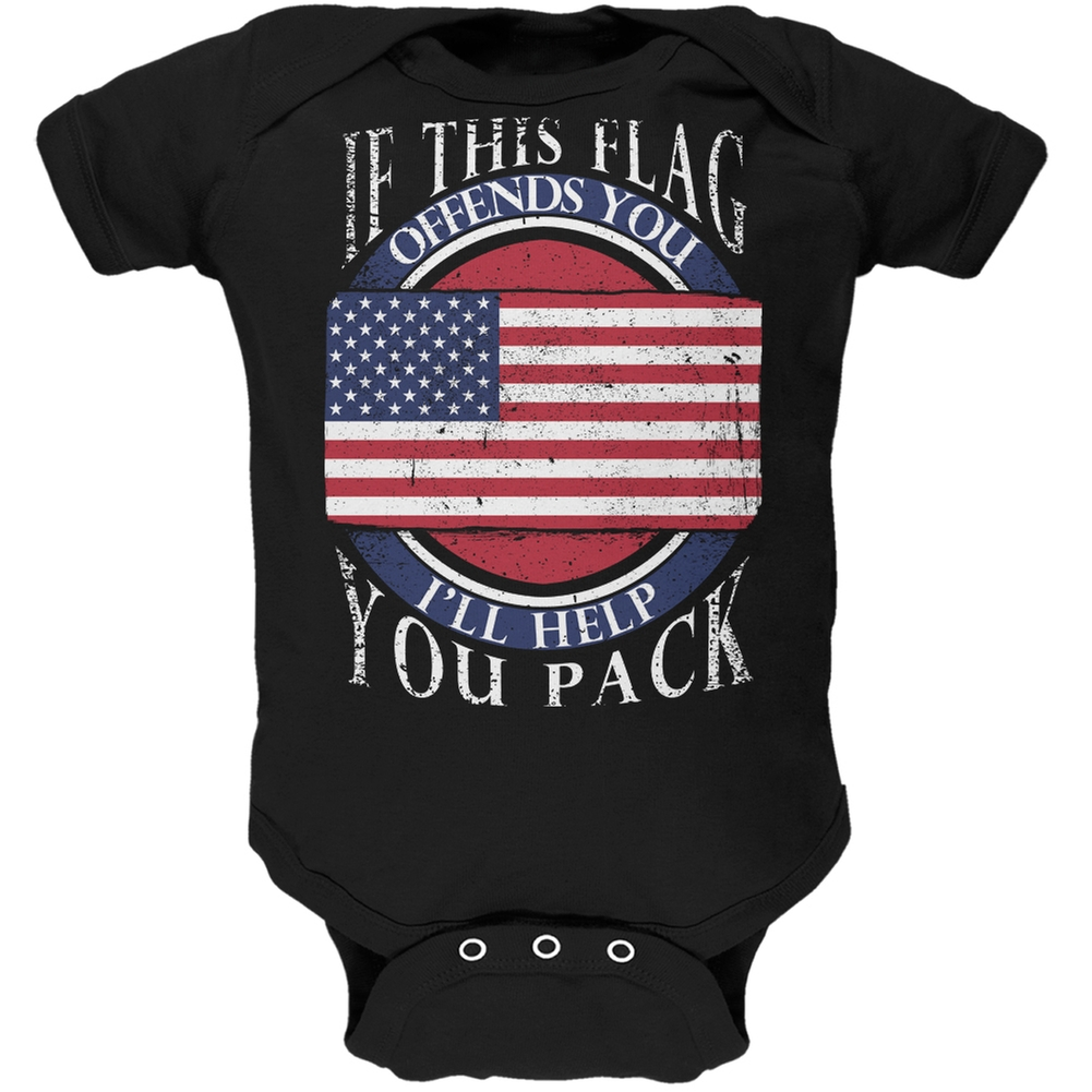 American Flag Help You Pack Black Soft Baby One Piece