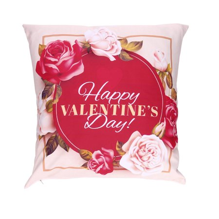 Valentine's Day Print Pillow Cases Polyester Sofa Car Cushion Cover Home Decor
