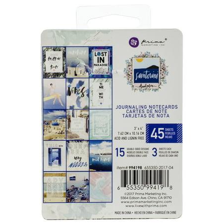 """Santorini Journaling Cards Pad 3""""X4"""" 45/Pkg-15 Designs/3 Each - image 1 de 1"""