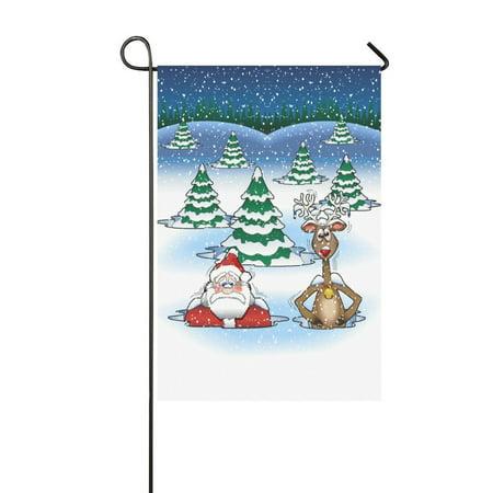 MYPOP Funny Frozen Santa Claus and Deer Garden Flag House Banner 12 x 18 - Banner Frozen