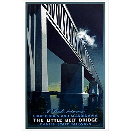 The Little Belt Bridge Vintage Travel Poster Bold Engineering Prized 24X36