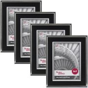 """Better Homes and Gardens Esme 5"""" x 7"""" Picture Frame, Black and Silver, Set of 4"""