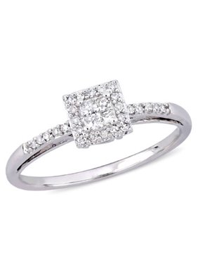 1/5 Carat T.W. Princess and Round-Cut Diamond 10kt White Gold Halo Engagement Ring