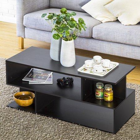 FITUEYES Modern Coffee Table TV Stand Bookcase Bookshelf Black Homury