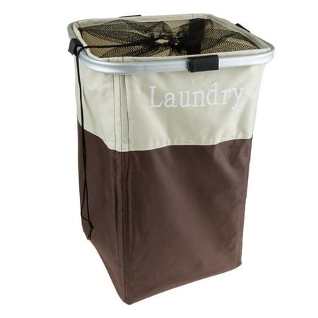 large collapsible canvas laundry basket hamper by lavish home. Black Bedroom Furniture Sets. Home Design Ideas