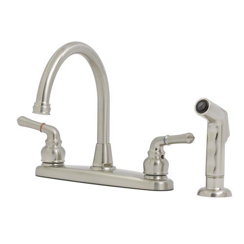 solutions by peerless hi rise kitchen faucet satin nickel