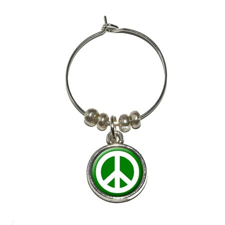 Peace Sign Glasses (Peace Sign Symbol - Green Wine Glass)