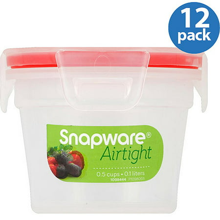 Snapware Airtight Plastic 0 5 Cup Nesting Food Storage Container Bowl  12 Pack