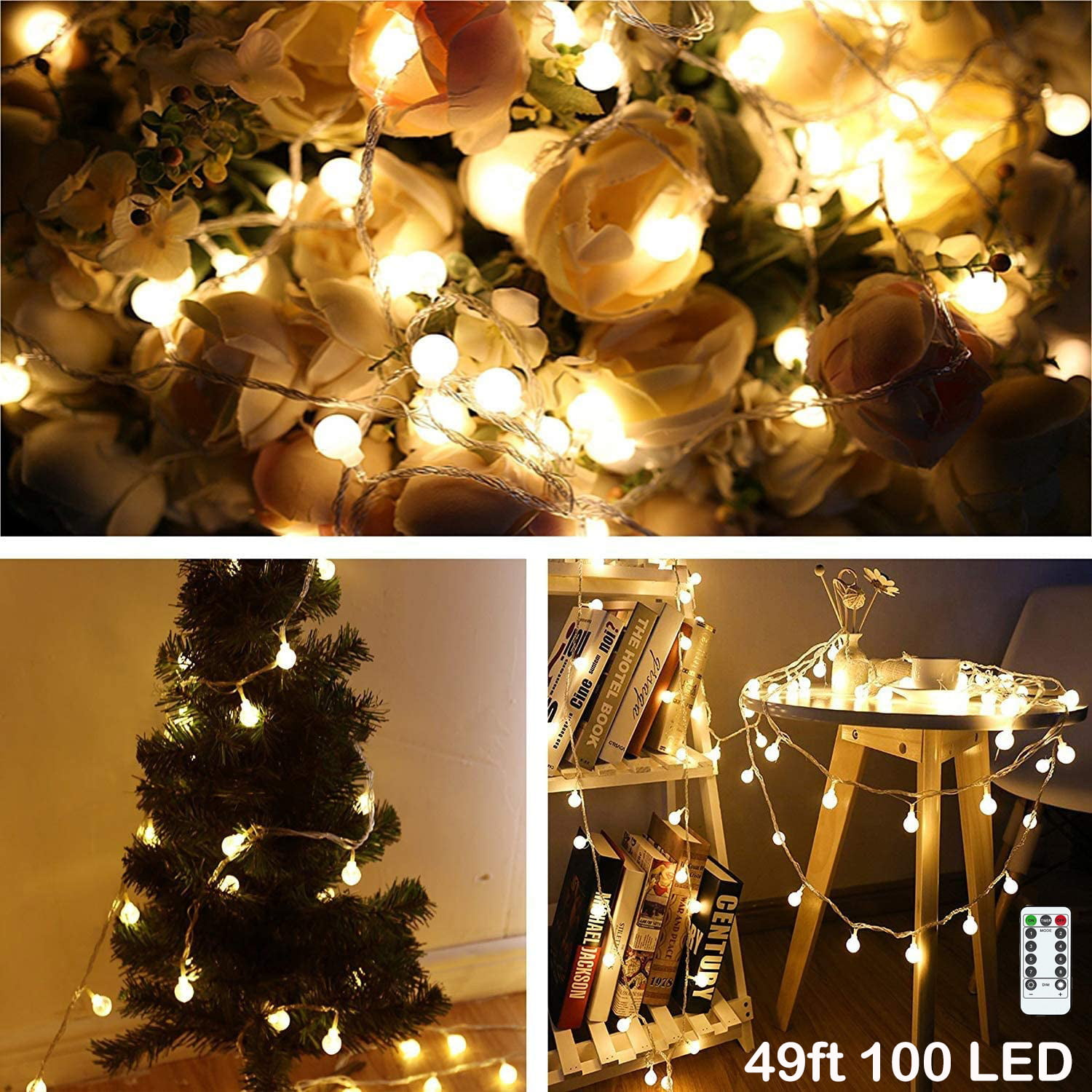 Led String Lights 49ft 100led Ball String Lights Indoor Outdoor Decorative Light With Remote Control Waterproof 8 Modes Starry Fairy String Lights For Bedroom Garden Christmas Tree Wedding I0966 Walmart Com Walmart Com