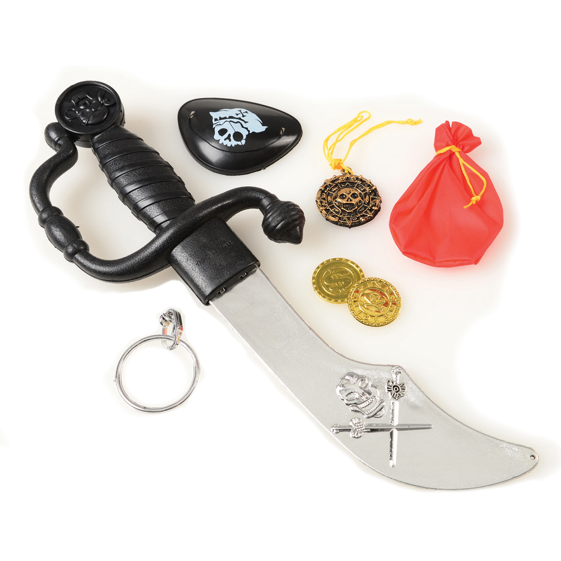 US Toy Pirate Sword Coin Eyepatch Child's 7pc Costume Accessory Kit, One-Size