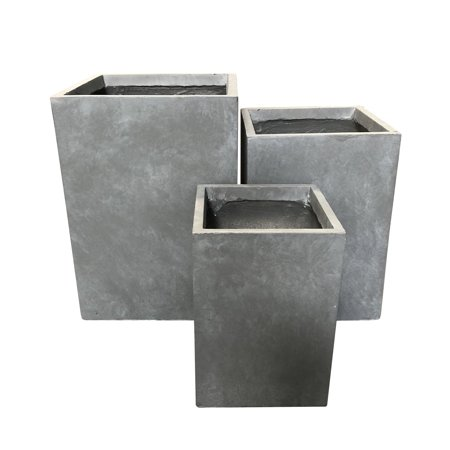 Durx-litecrete Lightweight Concrete Tall Square Planter-Small