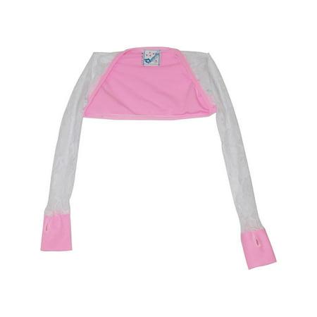 Pink Shrug - Girls Pink White Lace Detail Long Sleeved Dancewear Shrug Bolero