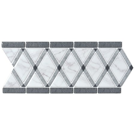 "10 Sheets Peel and Stick Backsplash Tile Border Waist Line Retro Mosaic Wall Sticker Kitchen Cabinet Toilet 12.4"" x 5"""