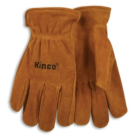 Kinco International 50M Work Gloves, Unlined Golden Suede Cowhide, Keystone Thumb, Shirred Elastic Back, Medium (Hides Unlined Gloves)