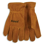 Kinco International 50M Work Gloves, Unlined Golden Suede Cowhide, Keystone Thumb, Shirred Elastic Back, Medium