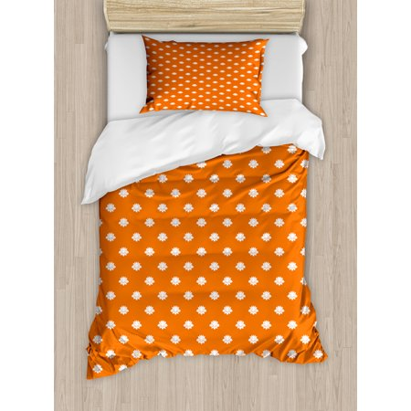 Flower Pattern One Piece (Orange and White Twin Size Duvet Cover Set, Japanese Lotus Flower Silhouettes Blossoming Spring Season Pattern, Decorative 2 Piece Bedding Set with 1 Pillow Sham, Orange and White, by Ambesonne )
