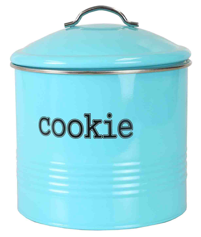 Click here to buy Home Basics Tin Cookie Jar, Ribbed Design, Turquoise, 7.5x7.6 Inches by Home Basics.