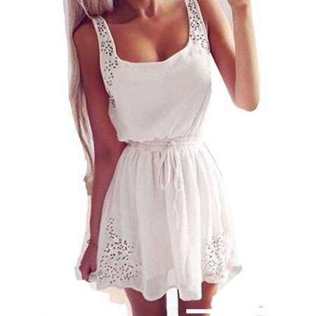 Summer Women Sleeveless Casual Chiffon Short Mini Dress Ladies Cocktail Casual Party Holiday Hollow Out Beach Sundress