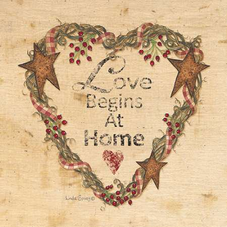 Love Begins at Home Poster Print by Linda Spivey (12 x 12) Linda Spivey Sunflowers