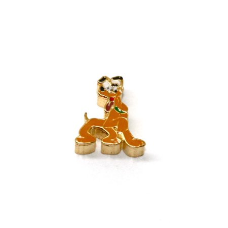 BRACCIALE DISNEY PLUTO DOG STAINLESS STEEL GOLD PLATED FLOATING NECKLACE CHARM