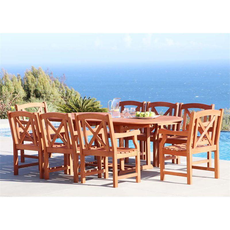 Vifah Malibu 9 Piece Extendable Oval Hardwood Patio Dining Set