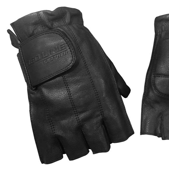 Redline Men's Gel Padded Fingerless Motorcycle Leather Gloves, Black G-059