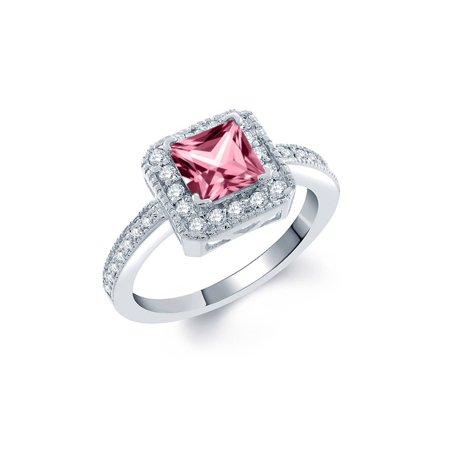 925 Sterling Silver Ring Set with Princess Pink Topaz from Swarovski - image 1 de 1
