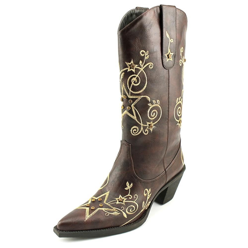 Roper Rock Star Women  Round Toe Leather Brown Western Boot