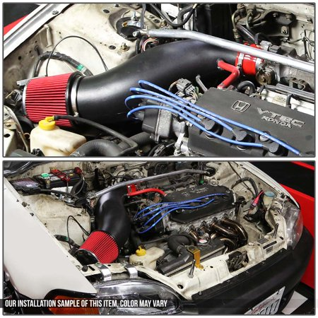 Honda Civic/Del Sol Black Flared Pipe Short Ram Intake Induction System with Air Filter - EG EH EJ