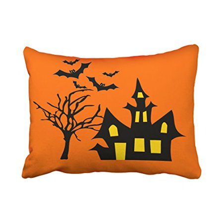 Spooky Lit Halloween Tree (WinHome Halloween Spooky Halloween Night Lit Haunted House Tree Bats Throw Pillow Covers Cushion Cover Case 20X30 Inches Pillowcases Two)