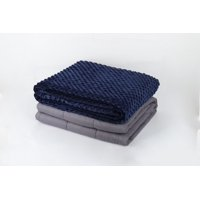NEX 100% Cotton Adult Weighted Blanket 15lbs, 40 x 60 with Removable Blue Minky Duvet Cover