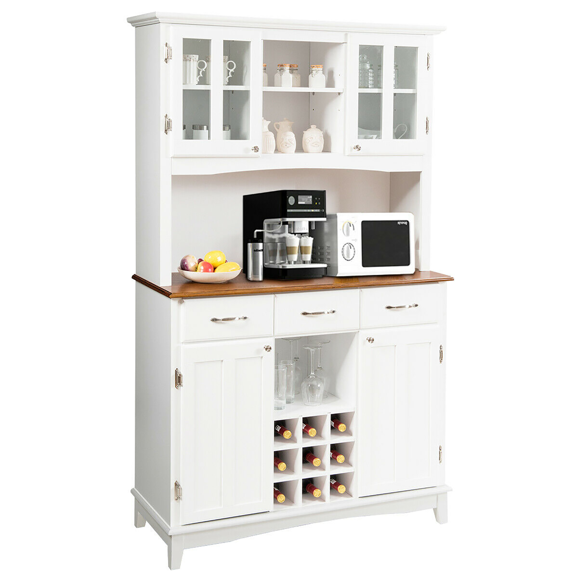 Costway Buffet And Hutch Kitchen Storage Cabinet Cupboard W Wine Rack Drawers White Walmart Com Walmart Com